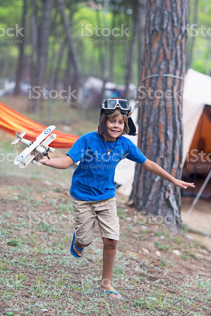 Playing with the airplane stock photo