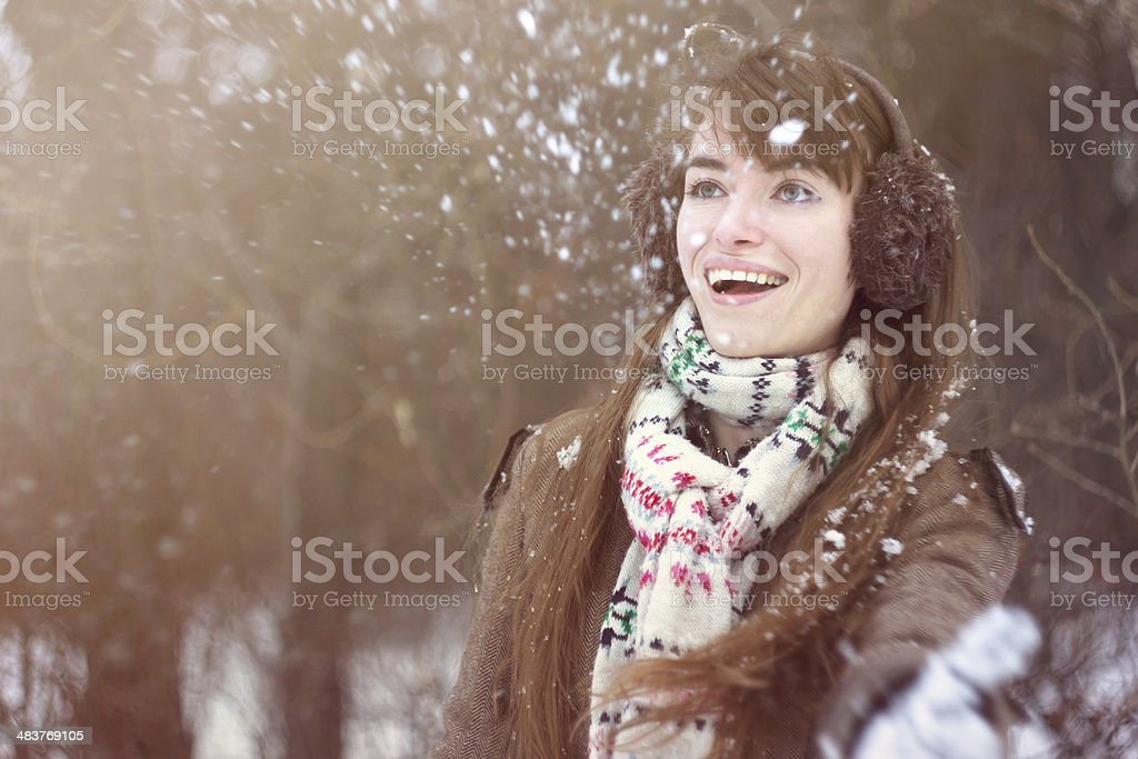 Playing with the Snow stock photo