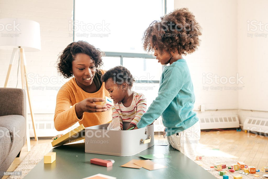 Playing with toddlers stock photo