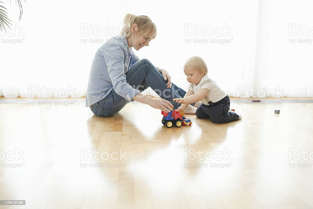 playing with toy truck royalty-free stock photo