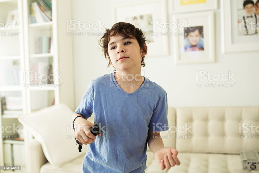 Playing with video games stock photo