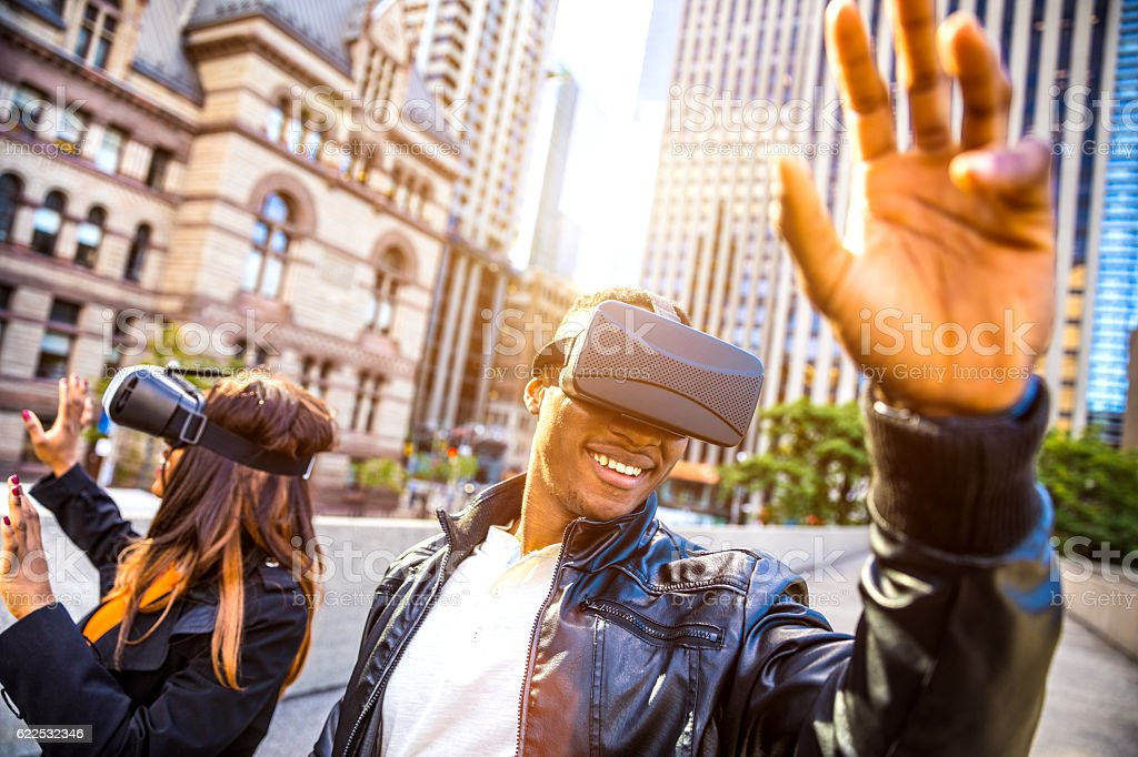 Playing with virtual reality headset stock photo