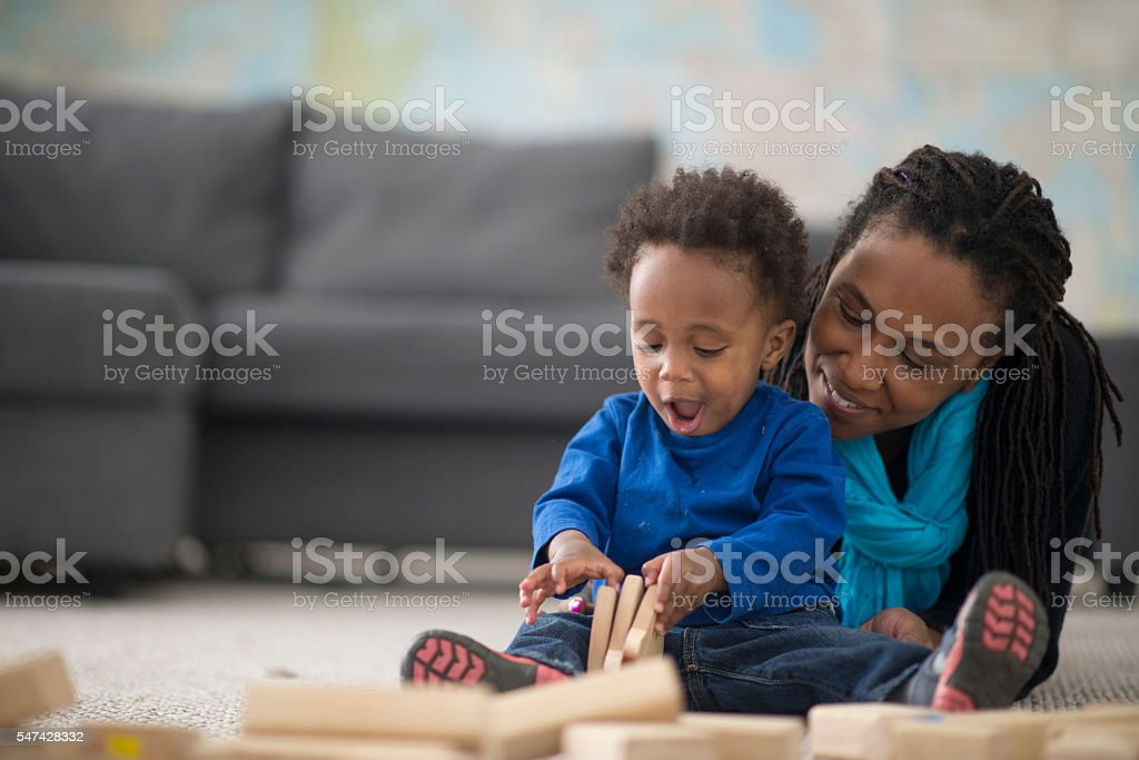 Playing with Wooden Blocks royalty-free stock photo