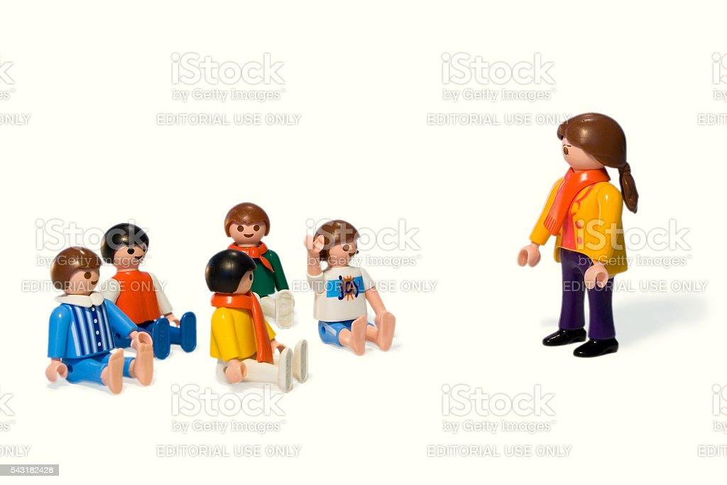 Playmobil. In school stock photo