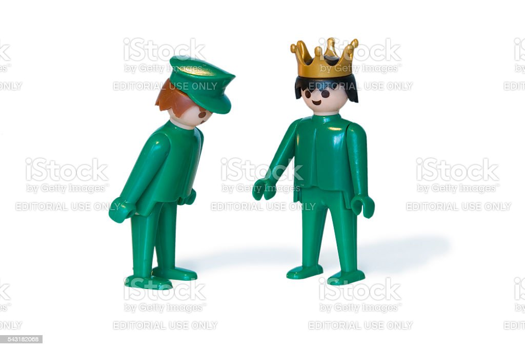 Playmobil. King and servant stock photo
