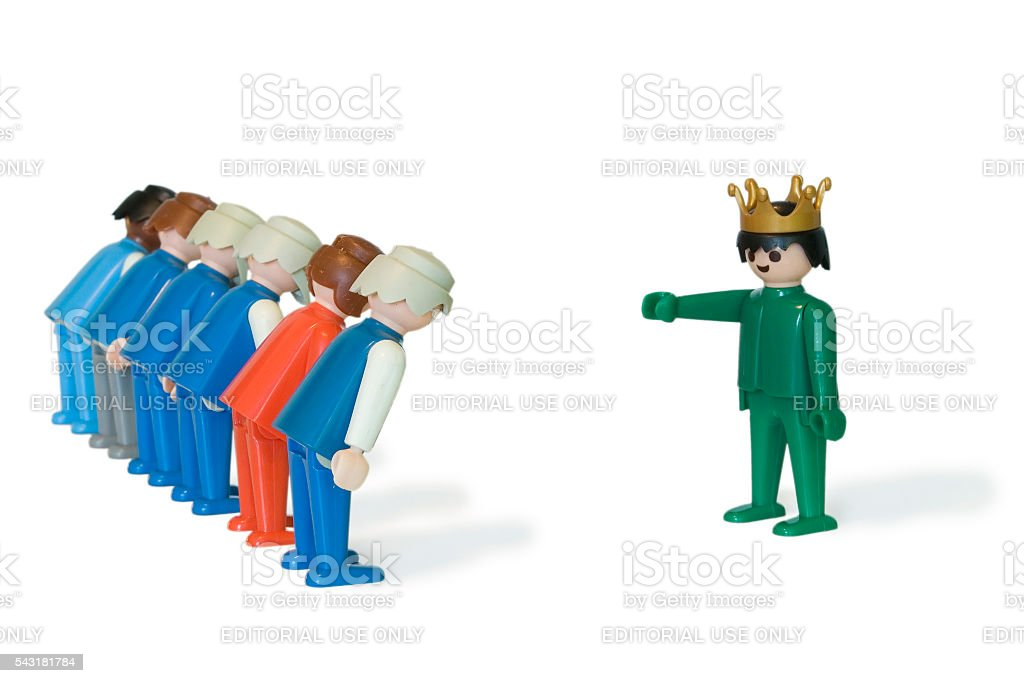 Playmobil. King and servants stock photo