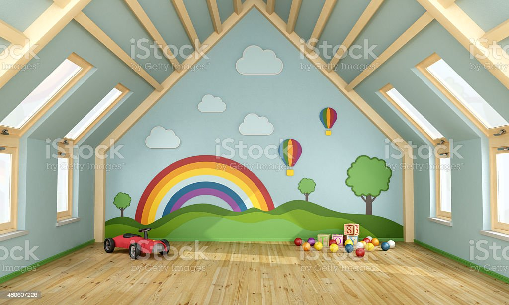 Playroom in the attic stock photo
