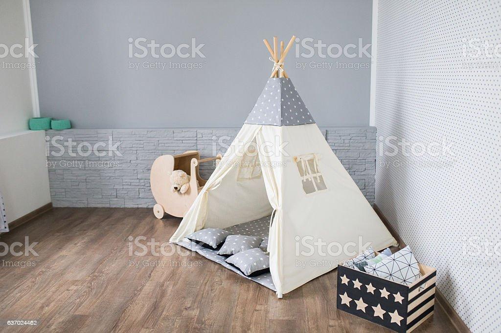 Playroom with Teepee stock photo