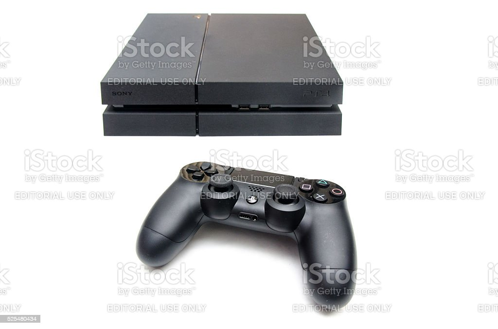 PlayStation 4 isolated on white stock photo