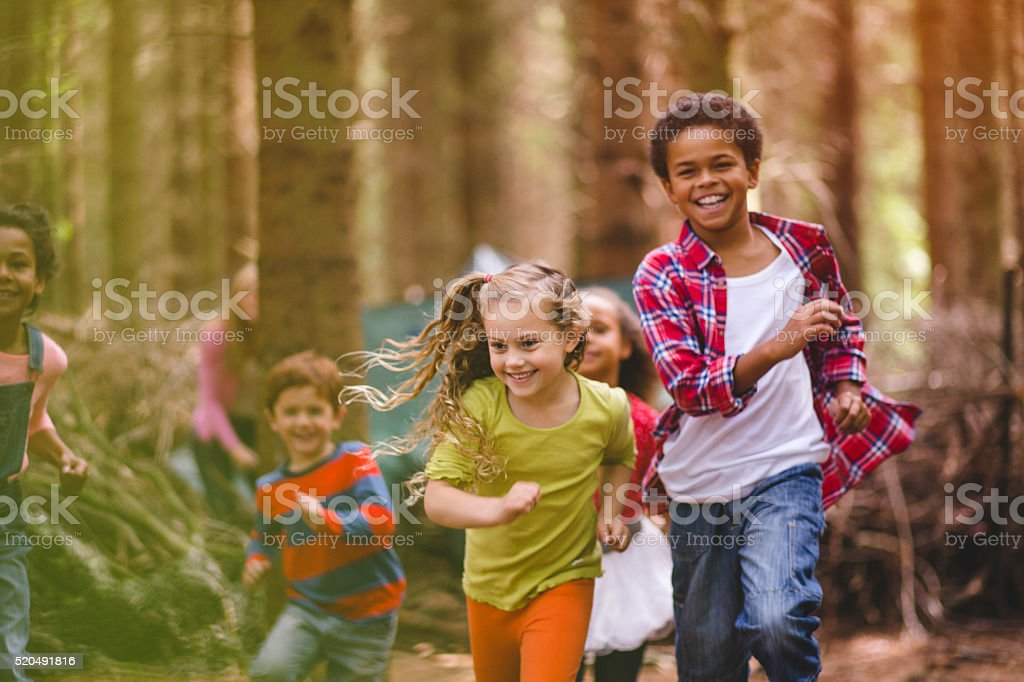 Playtime in the Woods stock photo
