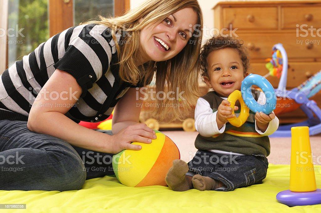 Playtime Using Developmental toys stock photo