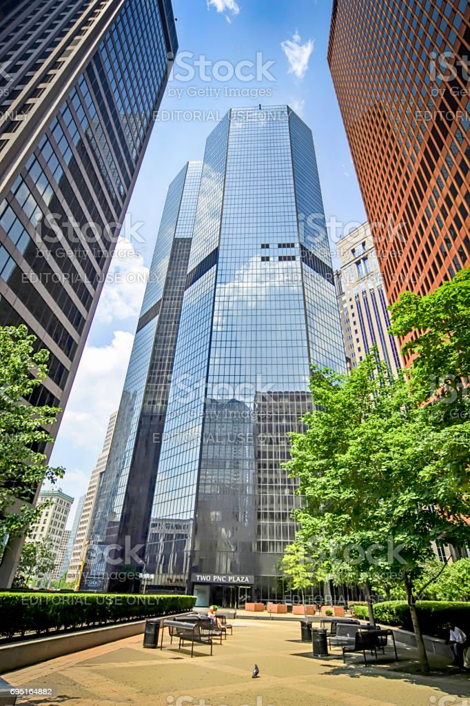 PNC Plaza buildings in downtown Pittsburgh, Pennsylvania USA stock photo