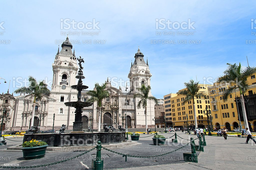 Plaza de Armas (Plaza Mayor) in Lima, Peru stock photo