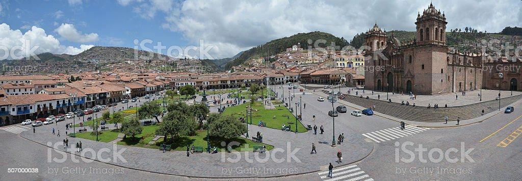 Plaza De Armas with Cathedral of Santo Domingo, Cuzco, Peru. stock photo
