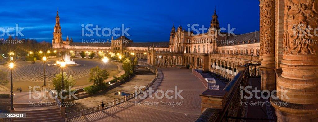 Plaza de España blue dusk Seville Spain stock photo