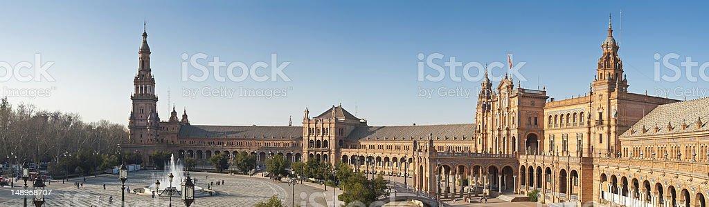 Plaza de España panorama Seville royalty-free stock photo