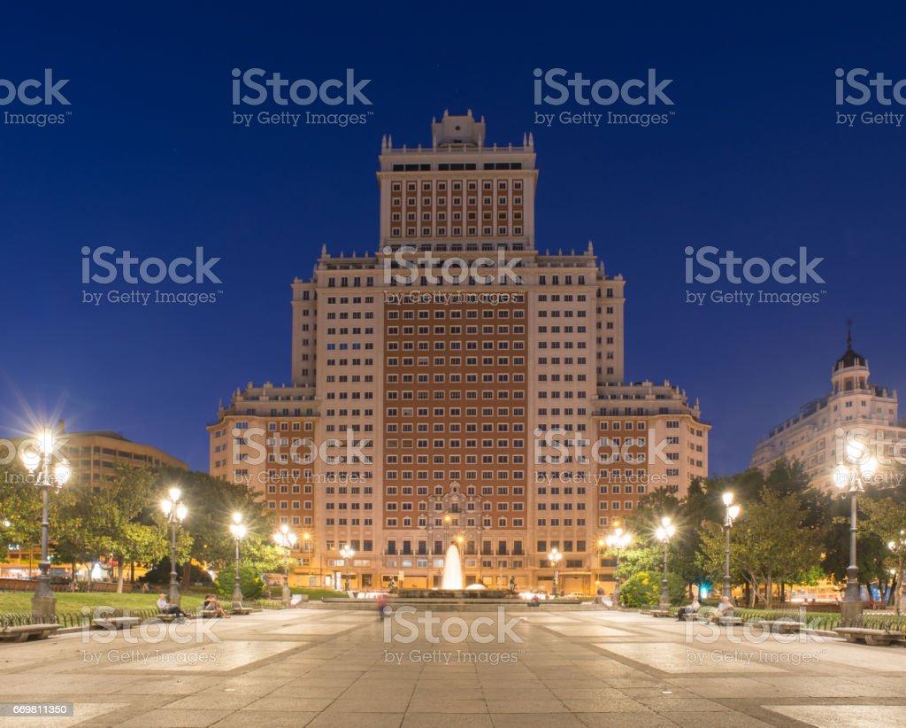 Plaza de España in Madrid stock photo