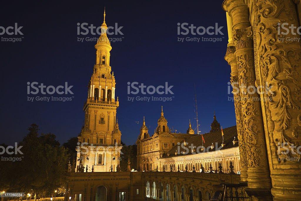 Plaza de España in Sevilla at night, Spain royalty-free stock photo