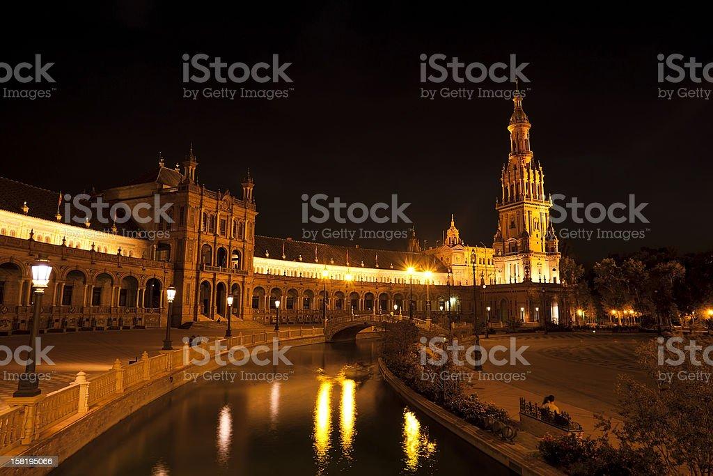Plaza de Espana at night, Sevilla royalty-free stock photo