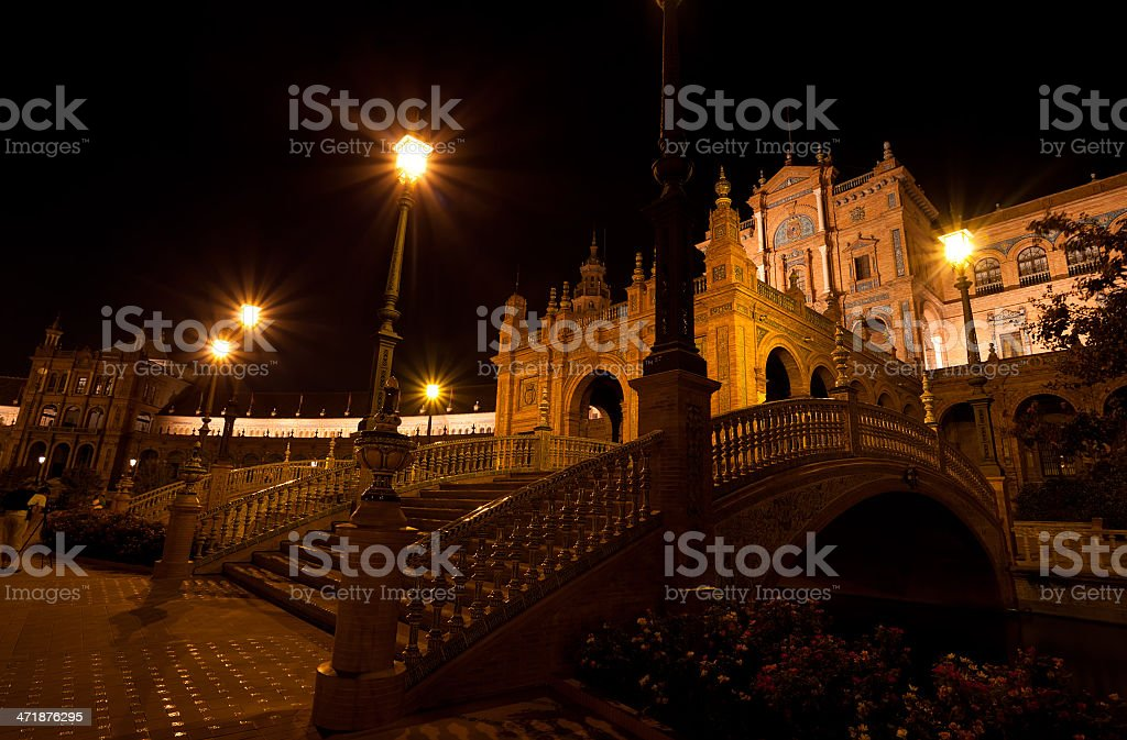 Plaza de Espana at night, Seville royalty-free stock photo