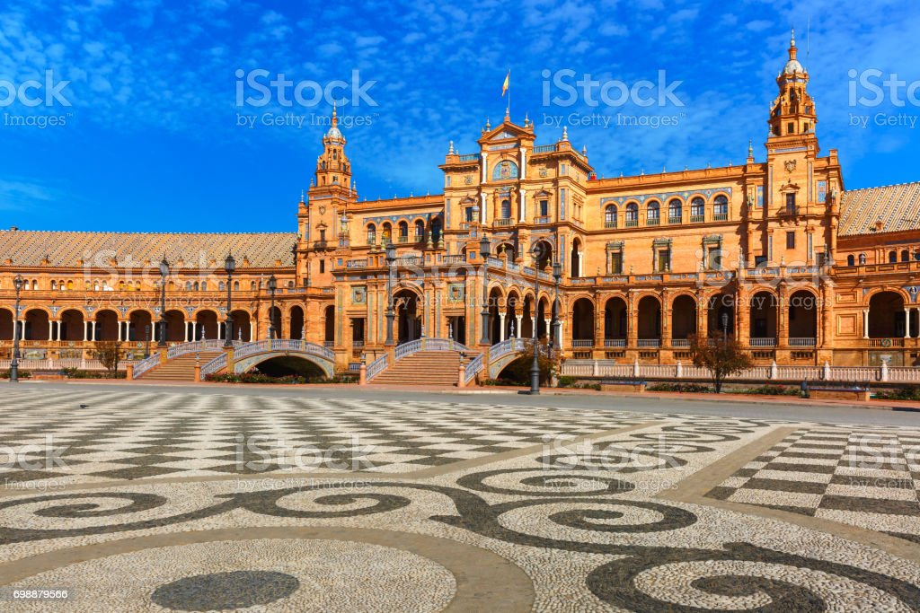 Plaza de Espana at sunny day in Seville, Spain stock photo