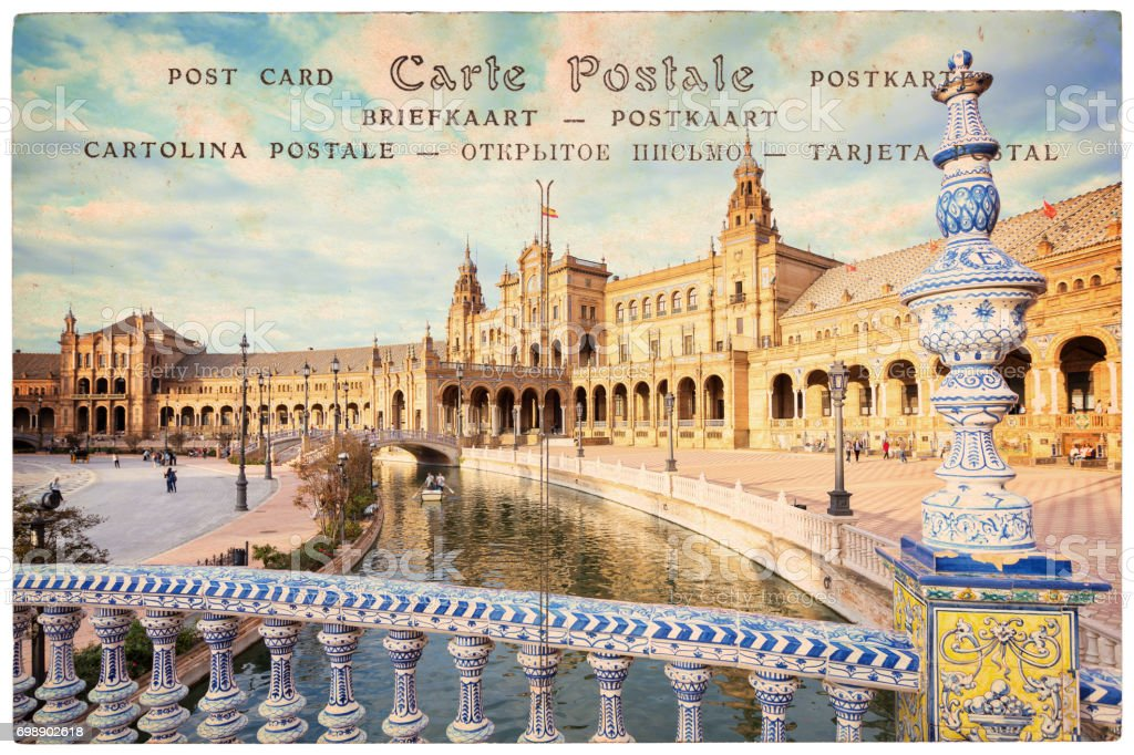 Plaza de Espana (Spain square) in Seville, Andalusia, collage on vintage postcard background stock photo