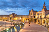 Plaza de Espana in the evening in Seville
