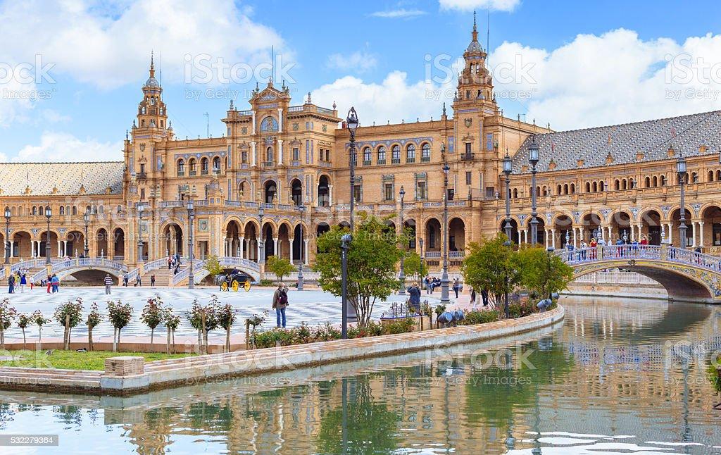 Praça de Espana, Sevilha, Espanha foto royalty-free