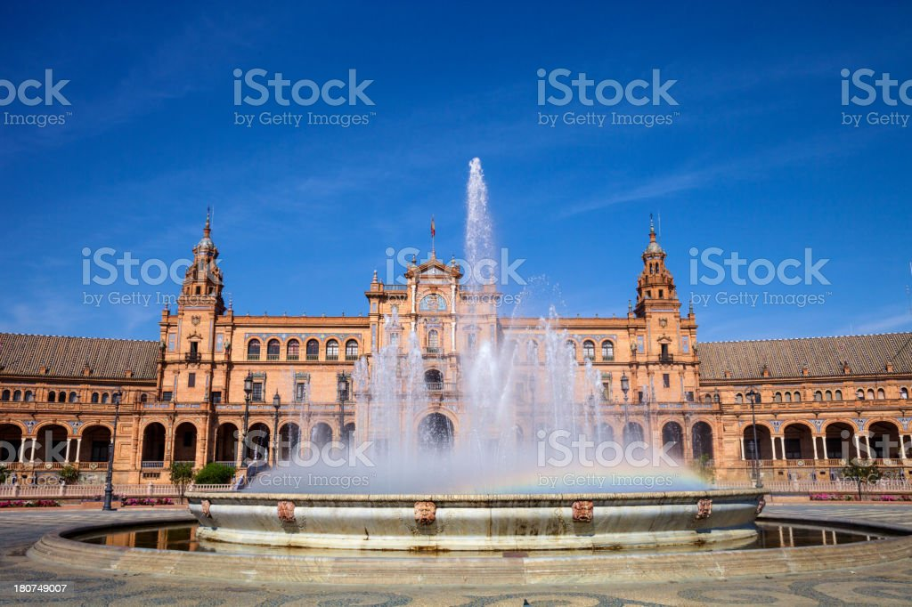 Plaza de Espana, Seville - Rainbow in the fountain water royalty-free stock photo