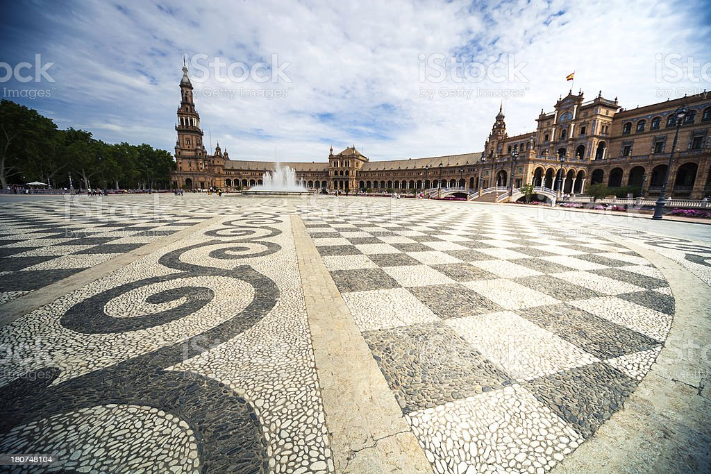 Plaza de Espana, Seville - The typical floor decor royalty-free stock photo