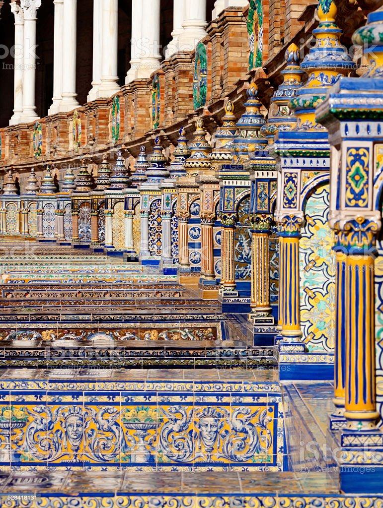 Plaza de Espana Tiles Seville stock photo