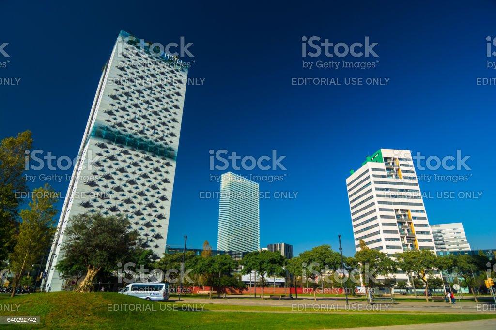 Plaza De Europa Business District in Barcelona stock photo
