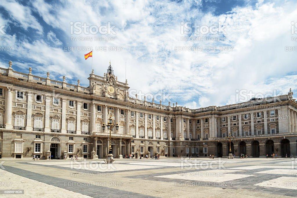 Plaza de la Armeria and the Royal Palace of Madrid stock photo