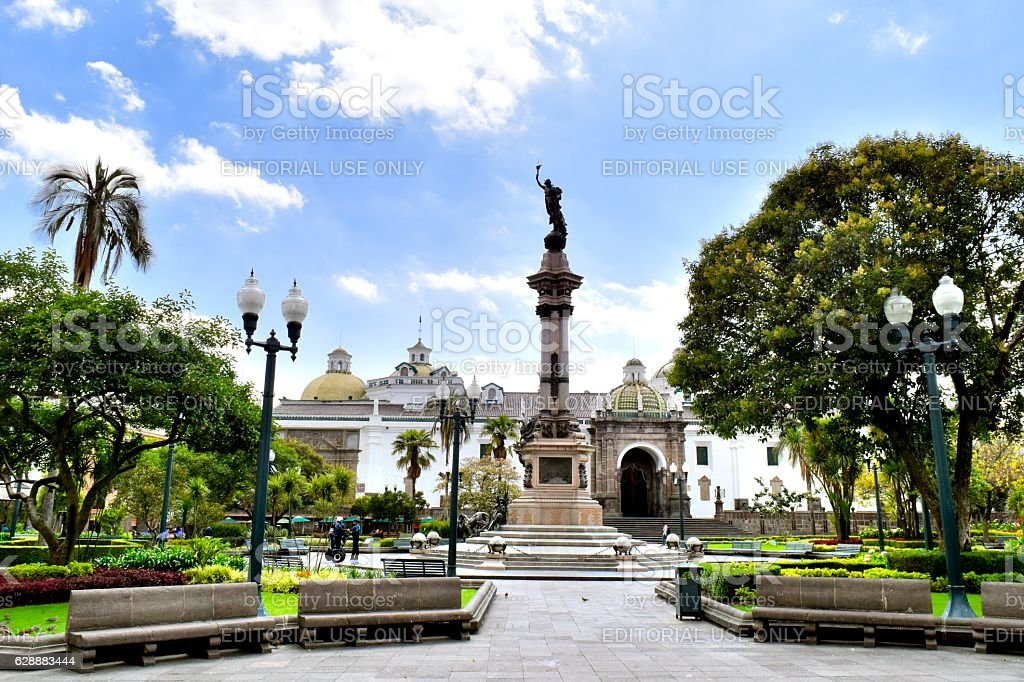 Plaza de la Independencia or Plaza Grande Quito stock photo
