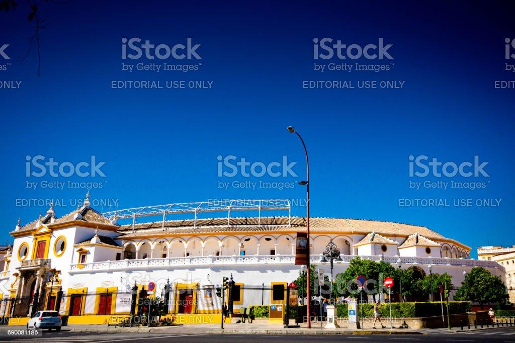 Plaza de toros de la Real Maestranza de Caballería de Sevilla in Spain. stock photo