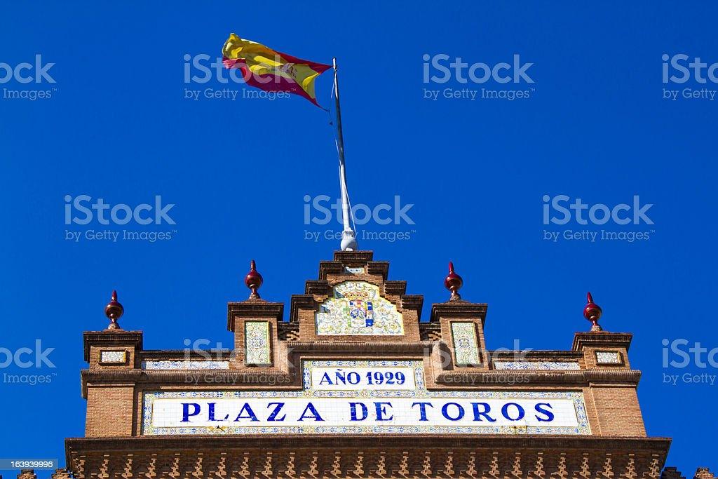Plaza de Toros, las Ventas, spanish flag and bullring royalty-free stock photo