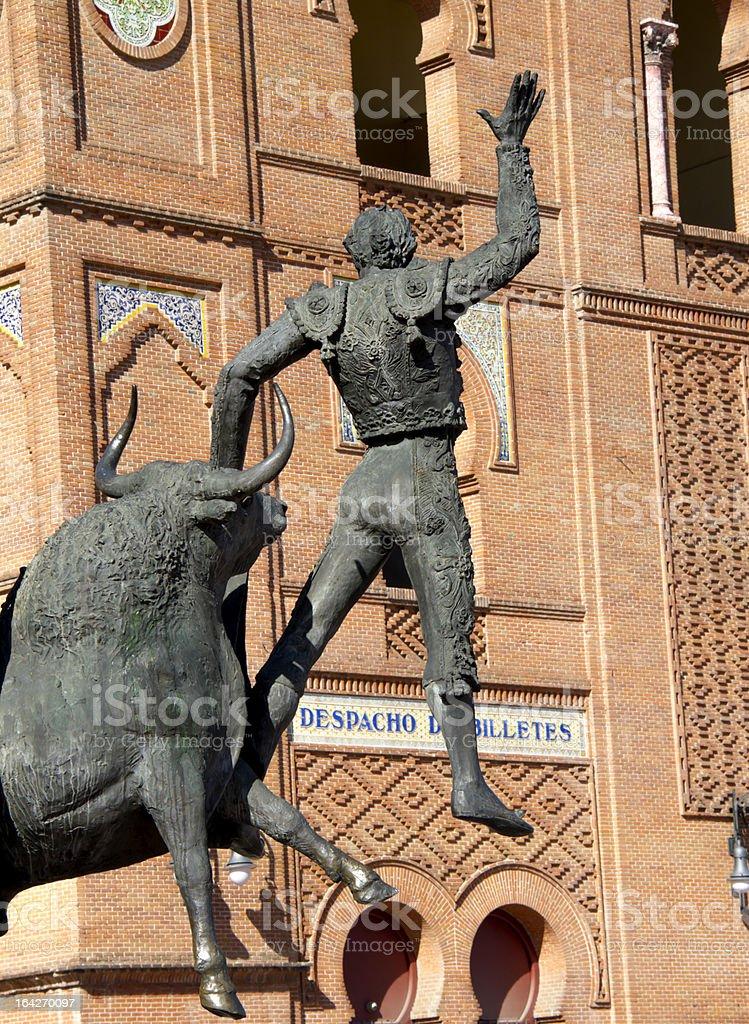 Plaza de torros, bullringman scultpure with bullring in background, Madrid stock photo
