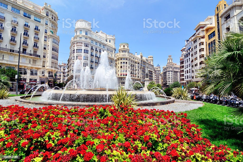 Plaza del Ayuntamiento, Valencia stock photo