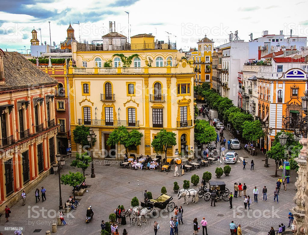 Plaza Del Triunfo in Seville, Spain stock photo