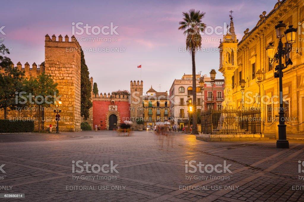 Plaza Del Triunfo, Sevilla, Spain stock photo