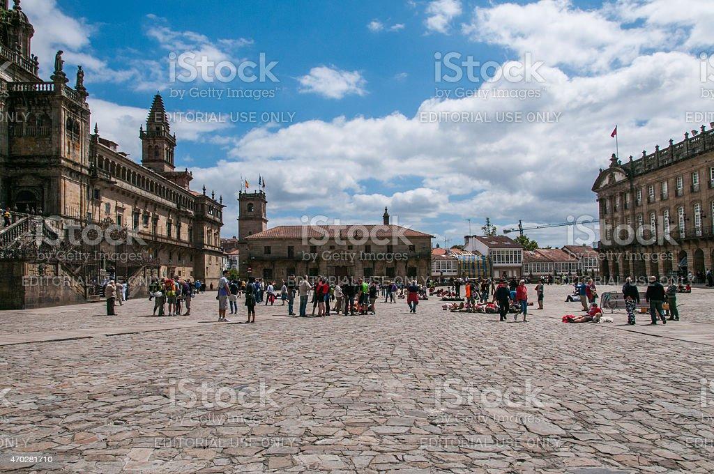 Plaza do Obradoiro in Santiago de Compostela stock photo