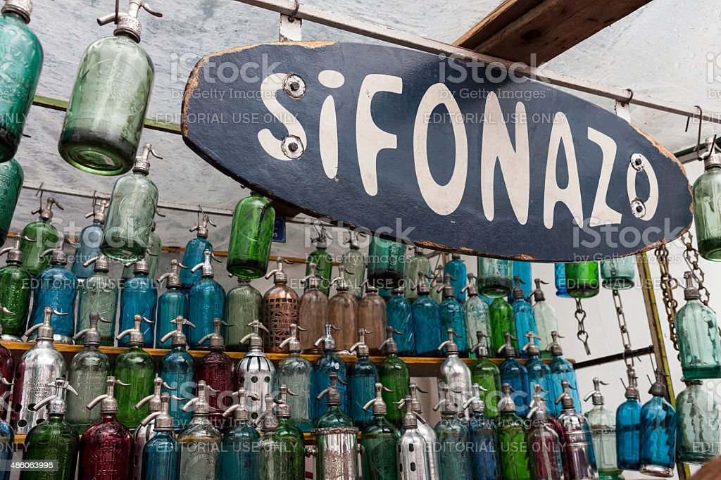 Plaza Dorrego stand selling antique seltzer bottles stock photo
