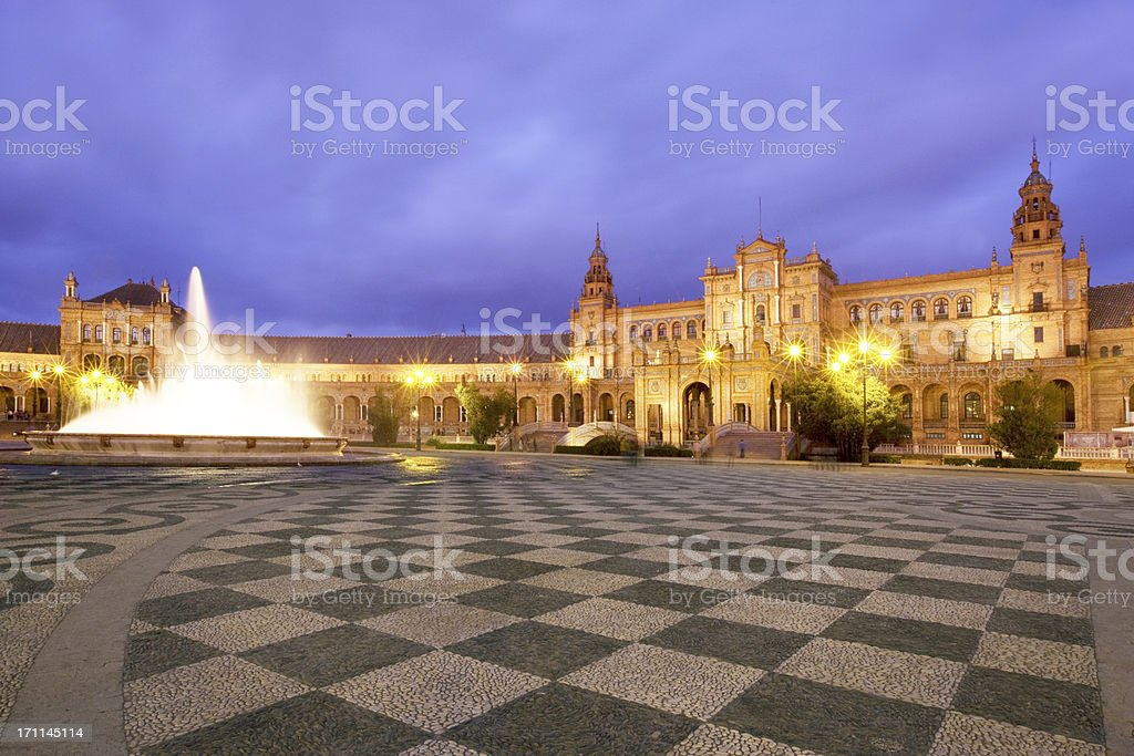 Plaza Espana at dusk stock photo