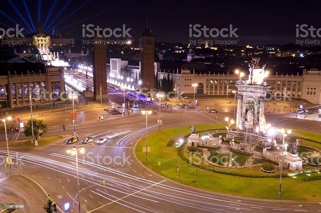 Plaza Espana at night, Montjuic, Barcelona stock photo