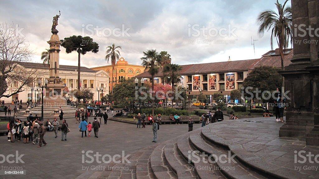 Plaza grande y municipio de Quito stock photo