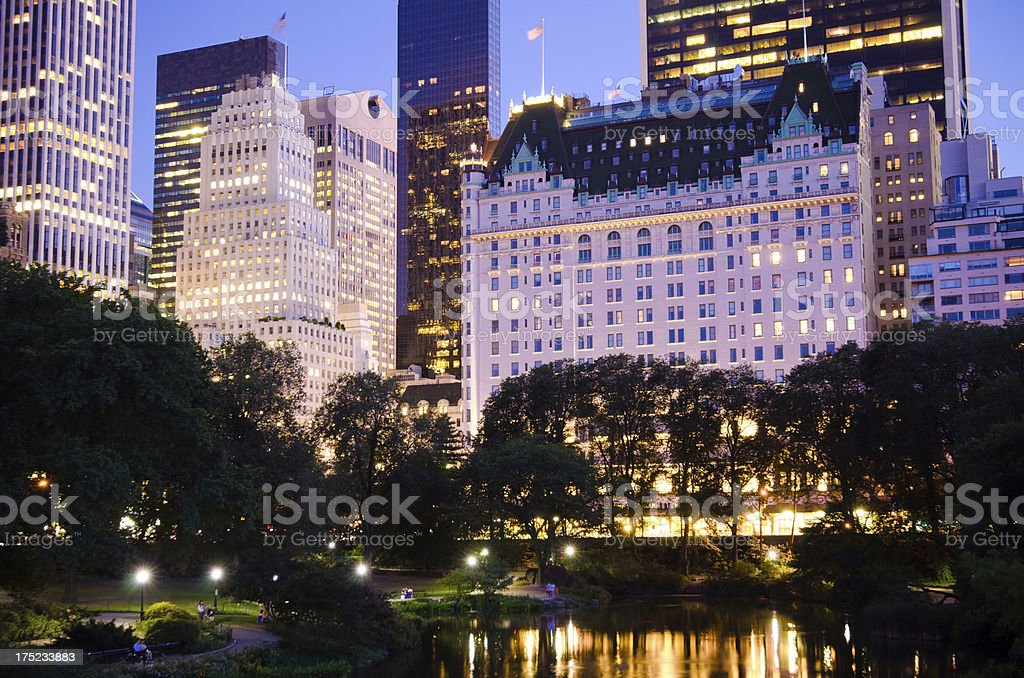 Plaza Hotel and other buildings as seen from Central Park stock photo
