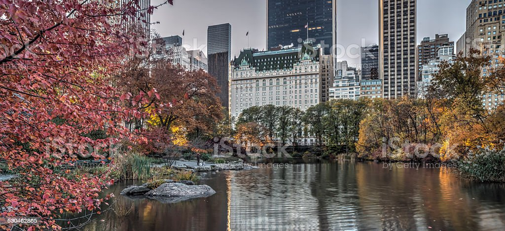 Plaza hotel in autumn stock photo