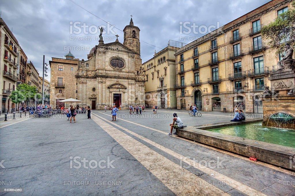 Plaza in Barcelona, Spain stock photo