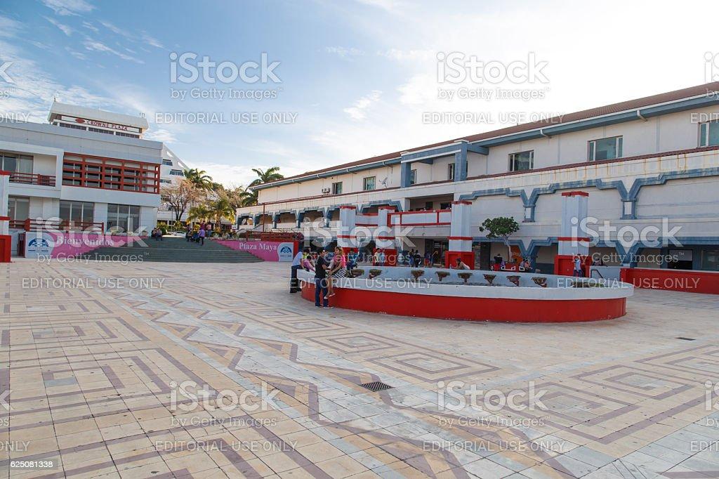plaza inter view with people around, Managua Nicaragua. stock photo