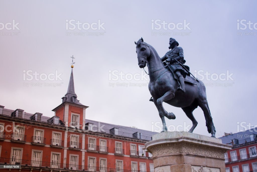Plaza Mayor – a central square and the most brisk place in Madrid where three streets – Calye de Atocha, Kalye Mayor and Calye de Toledo meet. stock photo
